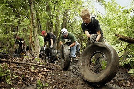 Tire Removal from wooded area